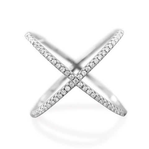 Criss Cross X Sterling Ring Cubic Zirconia