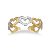 Sterling Silver & 14K Gold Plated Heart Toe Ring