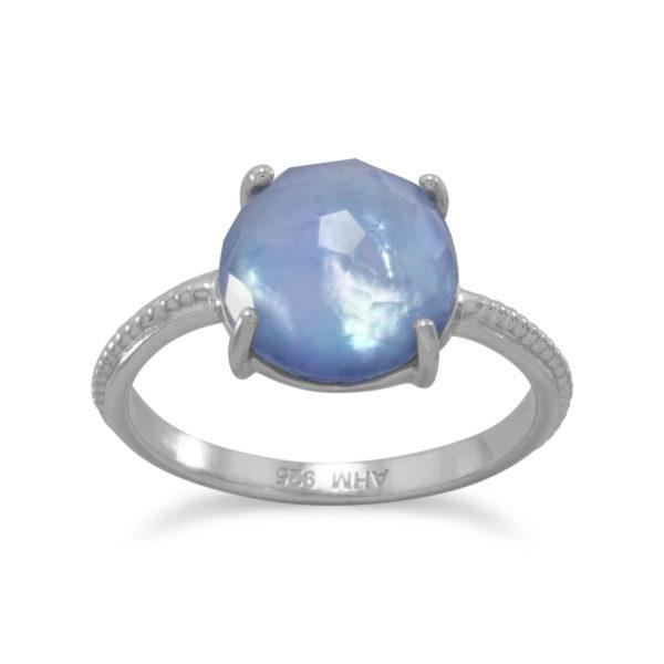 Rhodium Plated Blue Triplet Ring