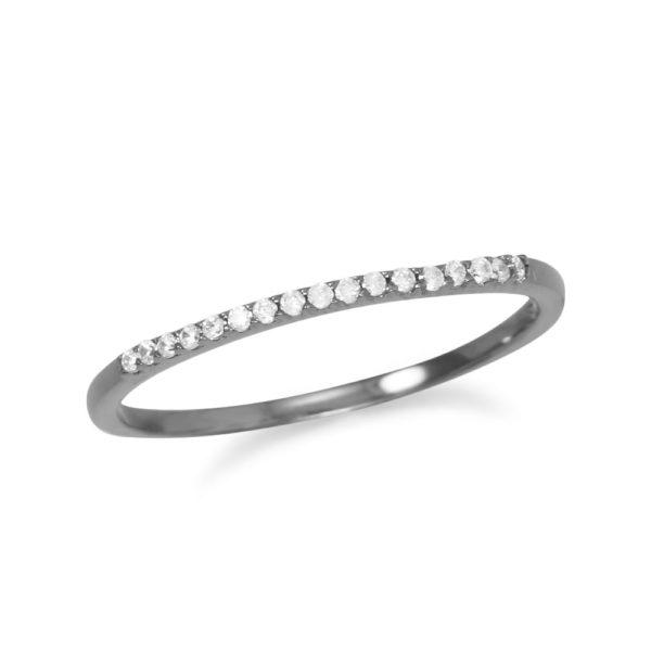 Ruthenium Plated Thin CZ Ring