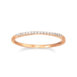 18 Karat Rose Gold Plated Thin CZ Ring