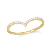 "18 Karat Gold Plated CZ ""V"" Ring"